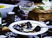 Moules a la mariniere (mussels in a white wine sauce, France)
