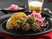Meat balls with herbs and radish salad