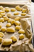 Potato gnocchi on a baking tray