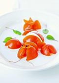Tomato and mozzarella shaped like a lobster