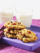 Oatmeal cookies with dried fruit, glass of milk