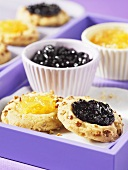Jam cookies with pineapple and blueberry jam