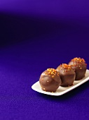 Chocolate saffron truffles