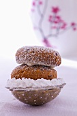 Russian nut cookies with vodka and powdered sugar