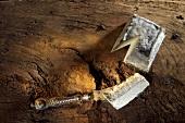 Valencay, Ziegenfrischkäse mit Asche, auf Holzuntergrund