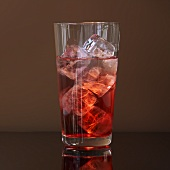 Campari Soda with ice cubes