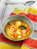 Arroz caldoso (rice stew, Spain) with prawns and mussels