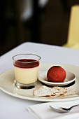 Panna cotta with berry sorbet