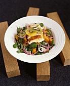 Salad with chicken breast, watercress & pieces of pumpkin