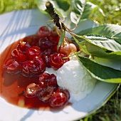 Ciliege al lambrusco (Cherries in red wine sauce with ice cream)