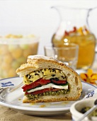 Ciabatta filled with pickled vegetables and mozzarella