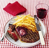 A slice of entrecote with chips