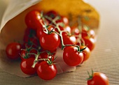 Several cherry tomatoes in a paper bag