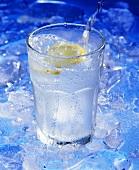 Wasser wird in Glas mit Zitronenschnitz eingeschenkt