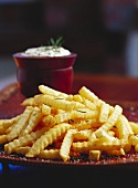 Chips with rosemary and herb dip