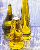 Olive oil in three bottles