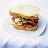Parma ham, pesto, Parmesan and salami in a sandwich