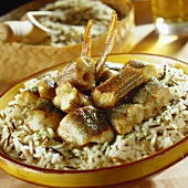 Fried eel on a bed of rice