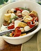 Sott'olio con la salsiccia (Marinated vegetables with sausage)