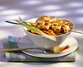 Chicken satay and nasi goreng