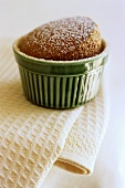 Chocolate pudding dusted with icing sugar