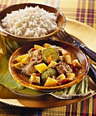Creole lamb ragout with rice bowl