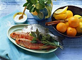 Red mullet and sea bream with salt, herbs and citrus fruits