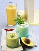 Cardamom and carrot shake, lime and avocado shake, rocket shake