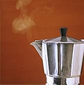 Italian espresso jug, steaming