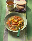 Potato and carrot stew with Vienna sausages