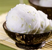 Two scoops of coconut ice cream