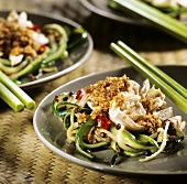 Chicken salad with cucumber and sesame sauce