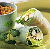Rice paper rolls filled with salad and tofu