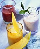 Raspberry & melon smoothie, apricot milk, minted fruit kefir