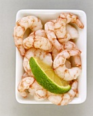 Peeled shrimps in a china bowl
