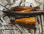 Various types of smoked fish