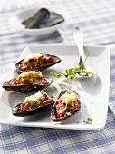 Mussels on tomato sauce with toasted cheese topping