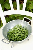 Green beans in colander on a chair