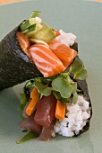 Two temaki with salmon and tuna