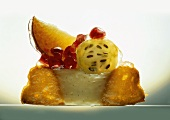 Small fruit flan with vanilla cream, cut open