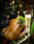 Christmas goose and champagne, with Christmas decorations