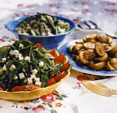 Three different salads for a barbecue
