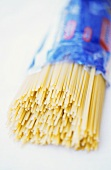 A packet of spaghetti, open