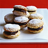 Macaroons with chocolate cream and icing sugar