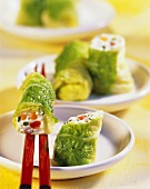 Chinese cabbage leaves stuffed with soft cheese