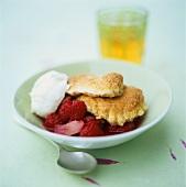 Raspberry & rhubarb compote with cinnamon pancakes & cream