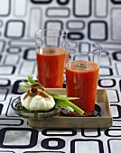 Bloody Mary and poached egg with anchovies
