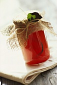 Quince jelly in jar