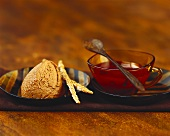 Gingerbread mousse with punch sauce