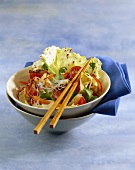 Glass noodle salad with vegetables and beef fillet